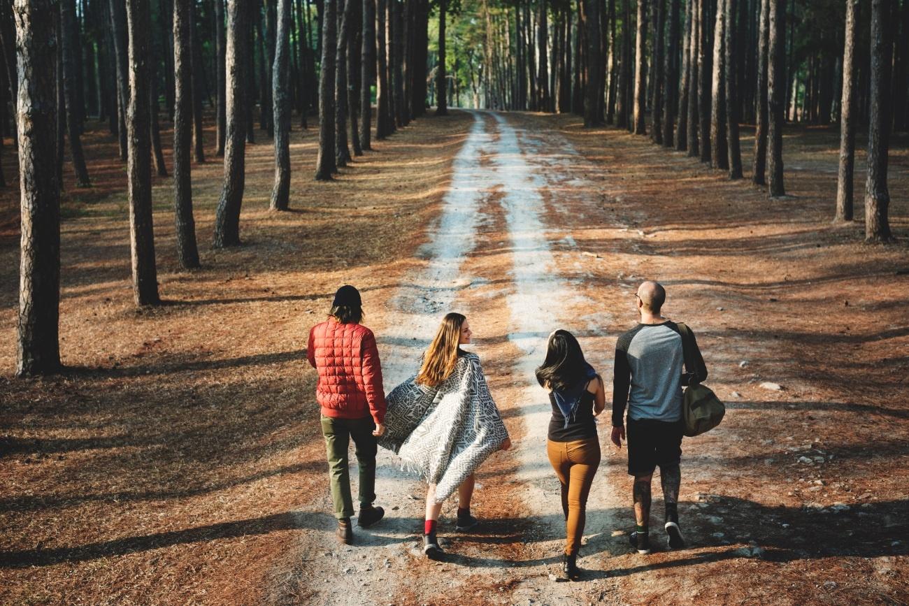 Família caminha junta pela floresta