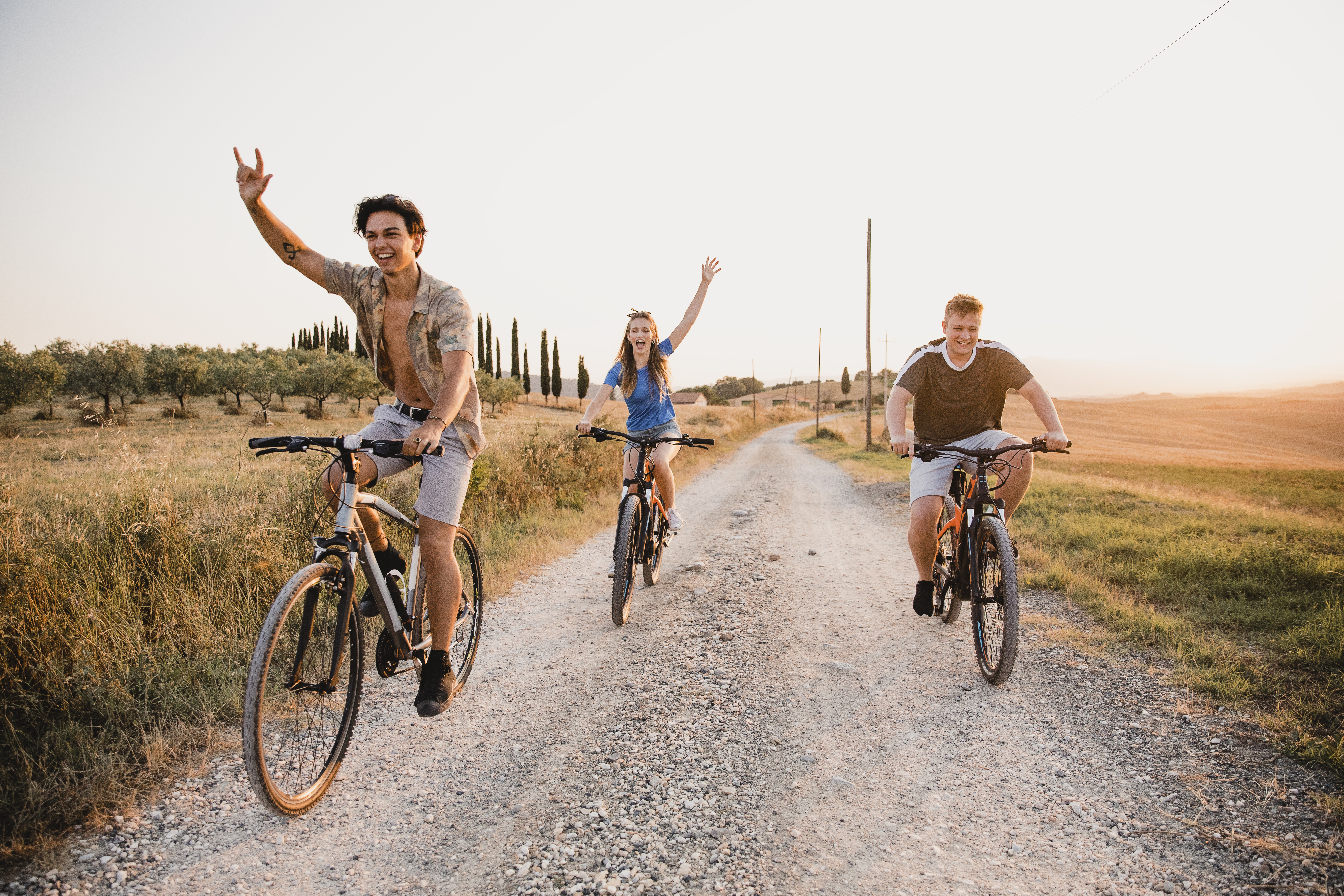 Young People Biking in Italy